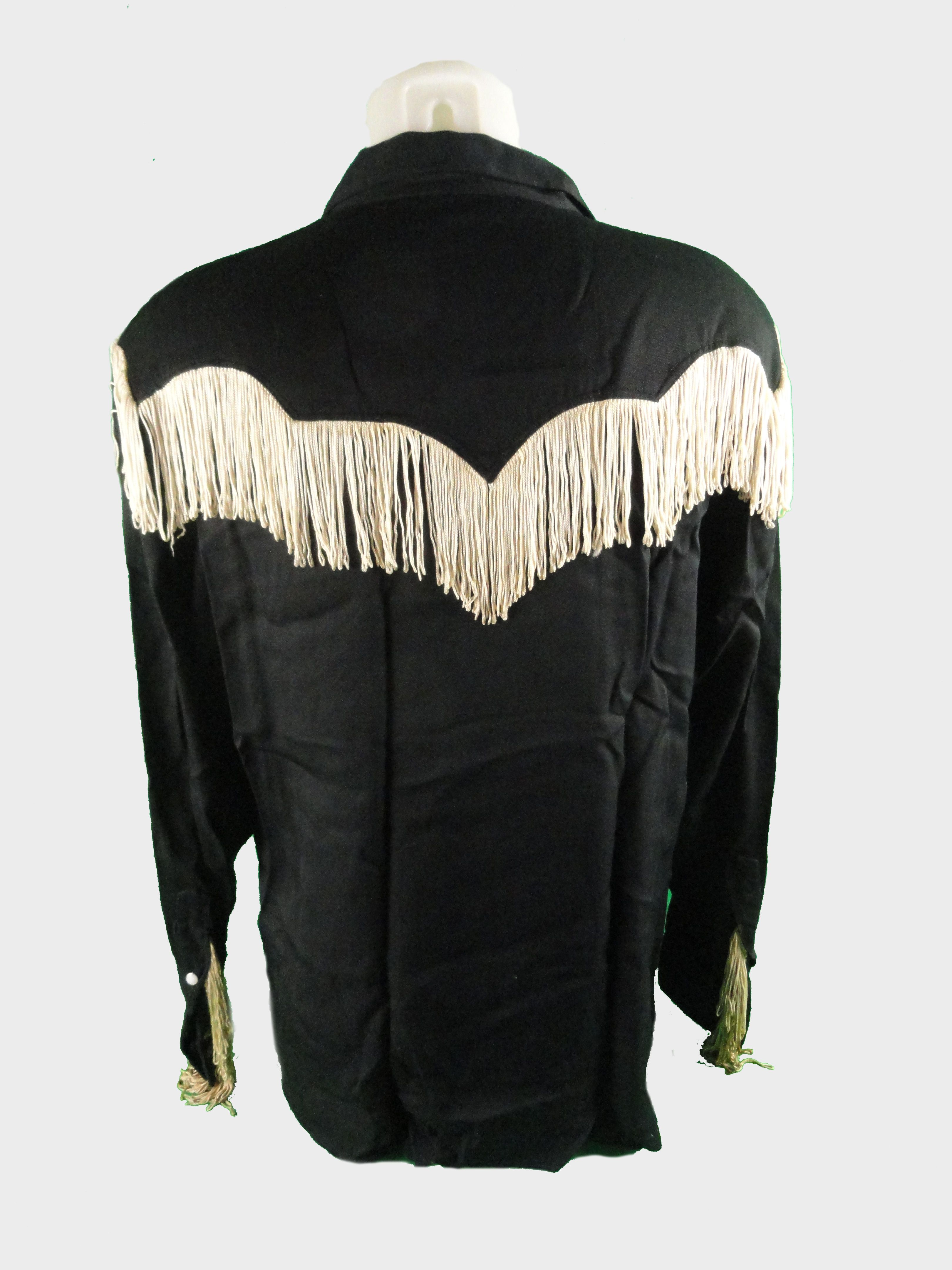 Lot Detail Black Western Shirt With Fringe Worn By Actor