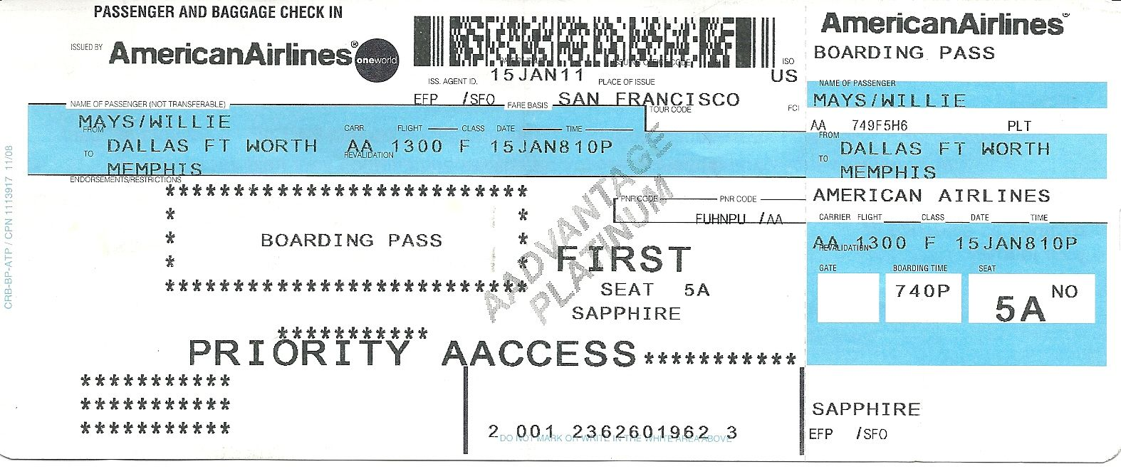 Mays boarding passes for flights from sf to dallas and dallas to
