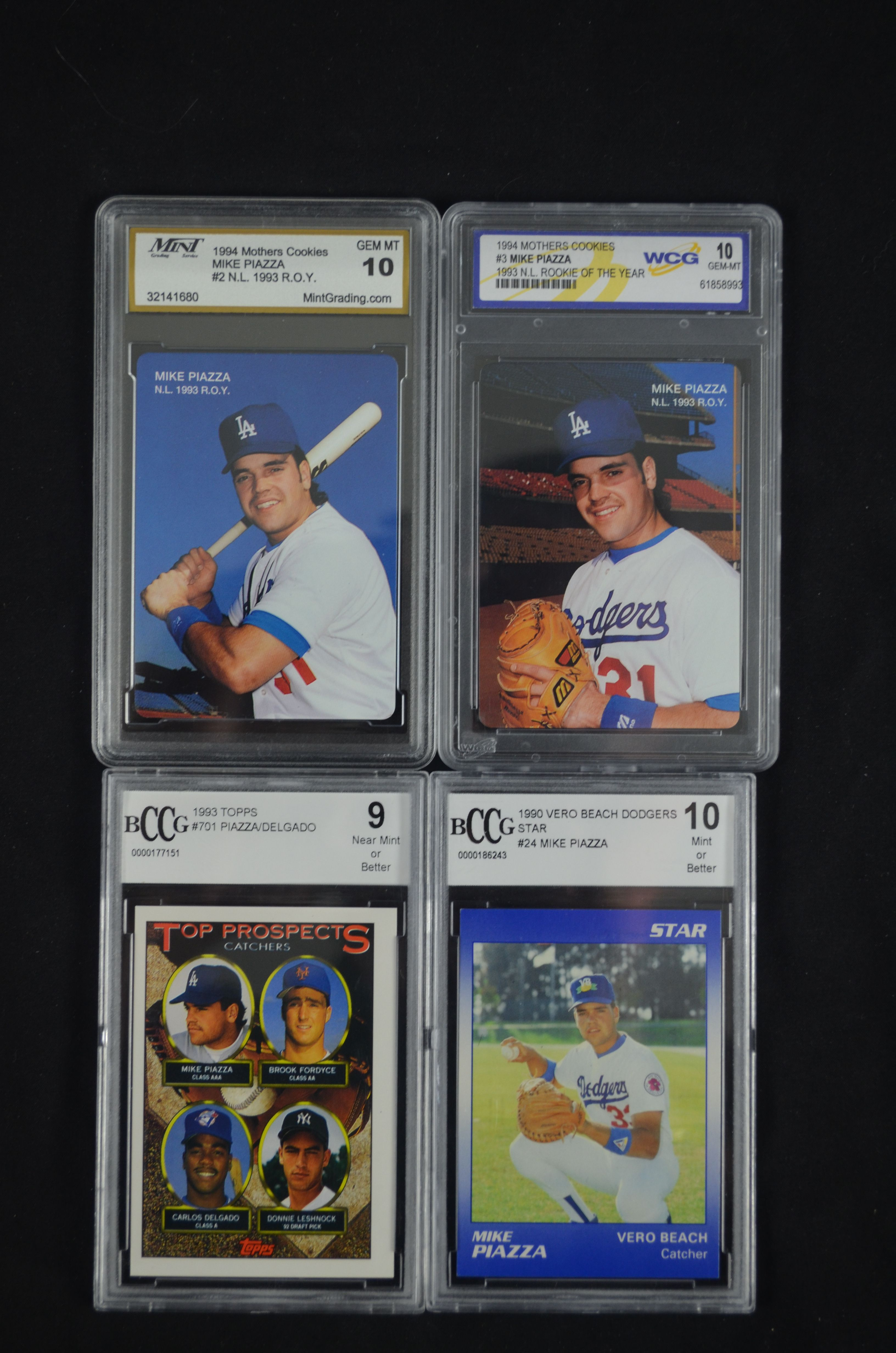 Lot Detail Mike Piazza 1994 Rookie Lot Of 4 Graded Baseball Cards