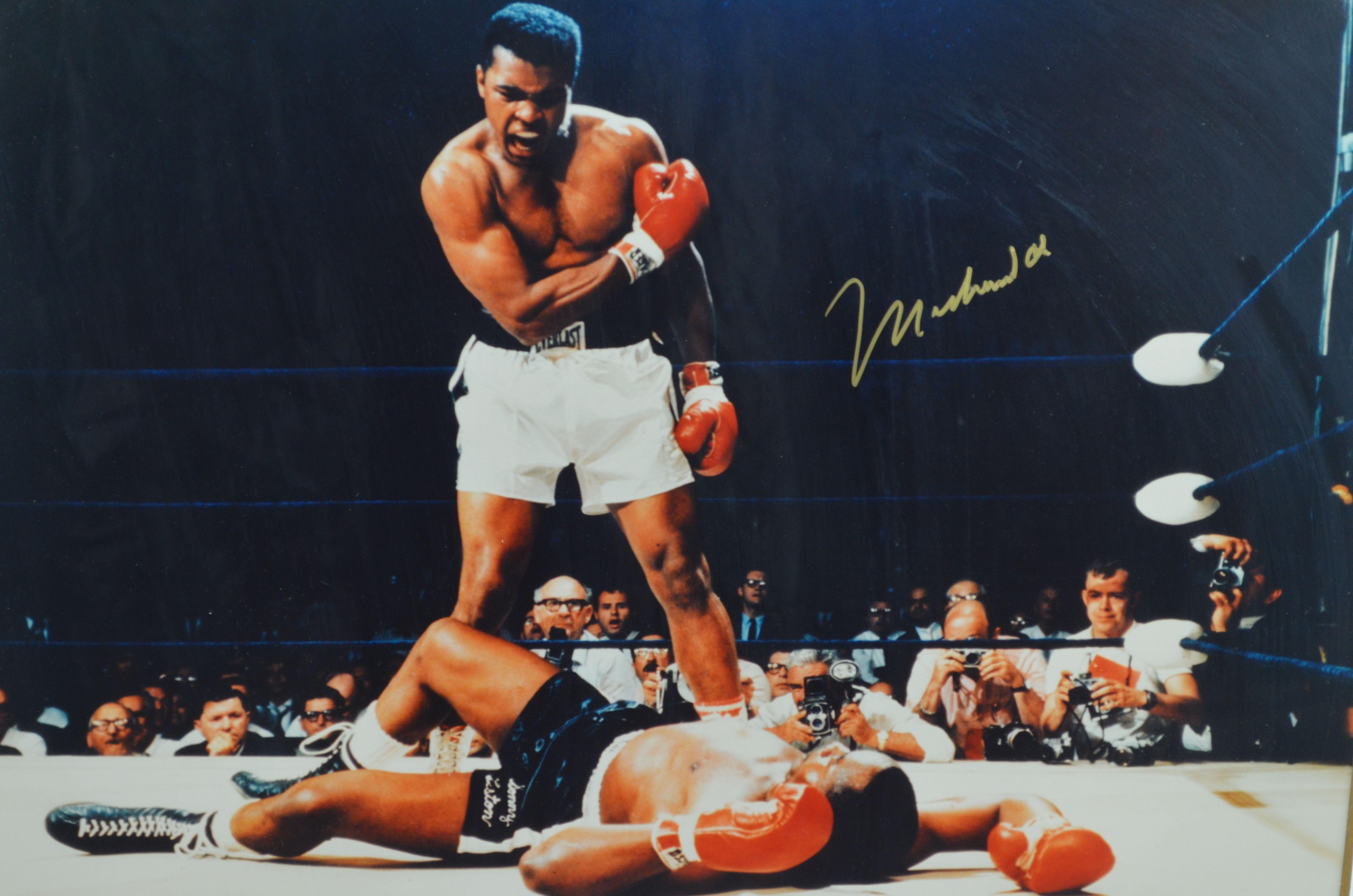 muhammad ali sonny liston autographed 16x20 framed photo - Muhammad Ali Framed Pictures