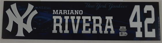 Mariano Rivera Locker Room Name Plate From His Last Game Played in NY 9/26/2013