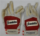 Kirby Puckett Professional Model Batting Gloves w/Heavy Use Each Signed by Puckett