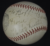 Babe Ruth Autographed & Inscribed Spalding Baseball Dated Christmas Day 1938