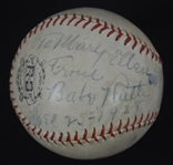 Babe Ruth Autographed & Inscribed Baseball Dated Christmas Day 1938