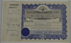 Vintage 1927 Goudey Gum Company Stock Certificate
