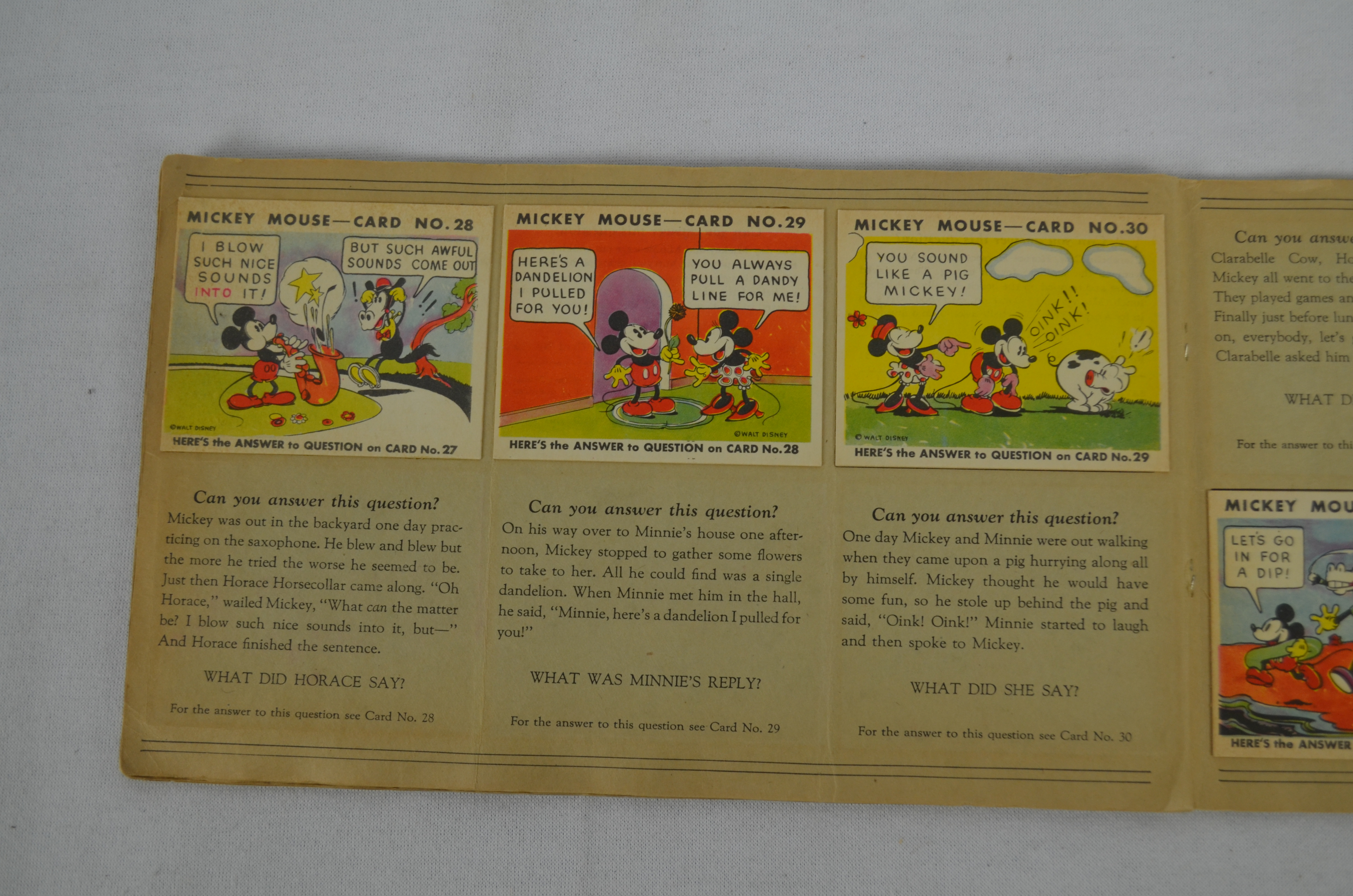 Lot Detail - Vintage 1935 Mickey Mouse Original 48 Card