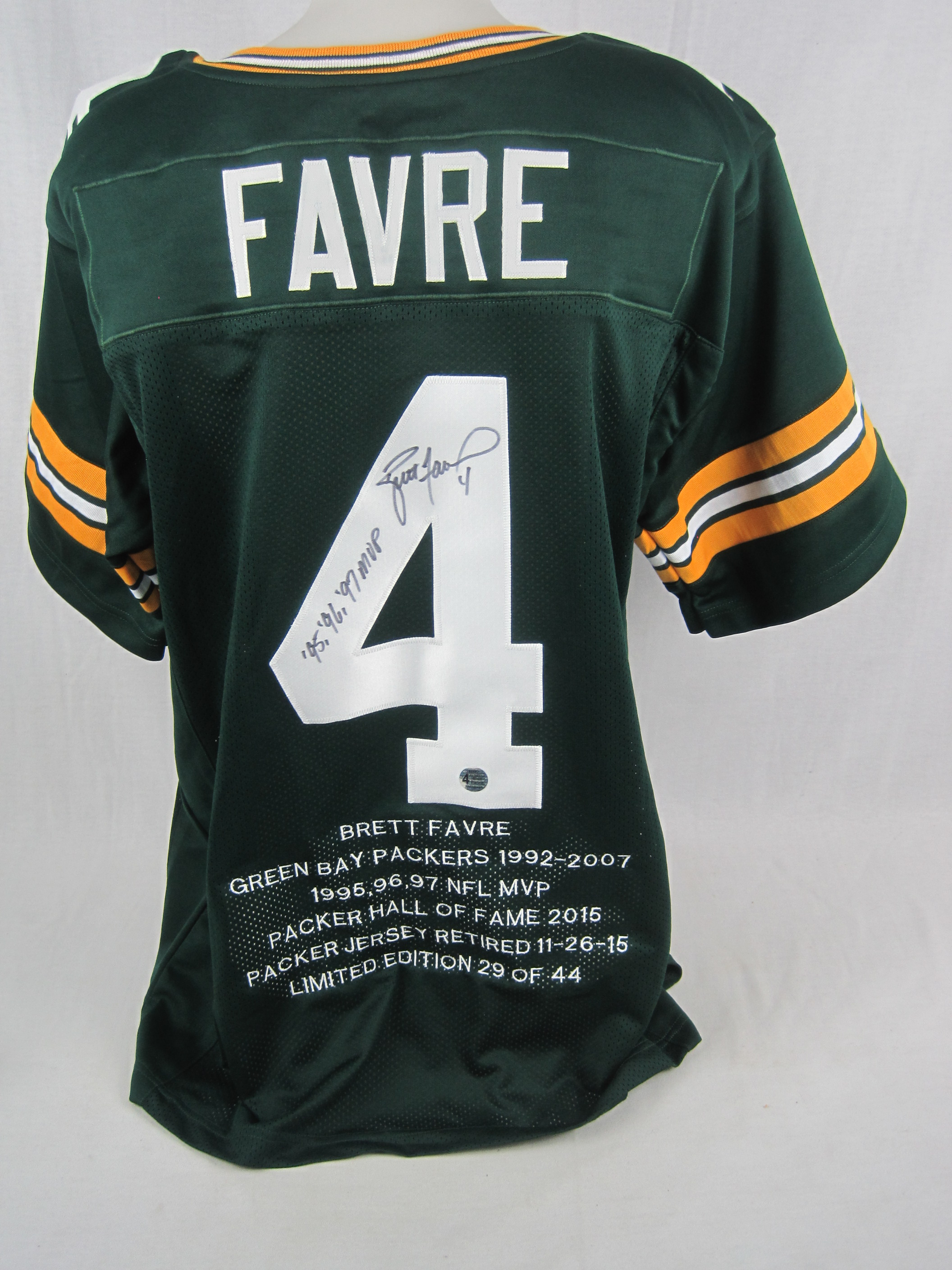 ddda21471c1 Brett Favre Autographed & Inscribed Limited Edition Green Bay Packers Jersey  ...