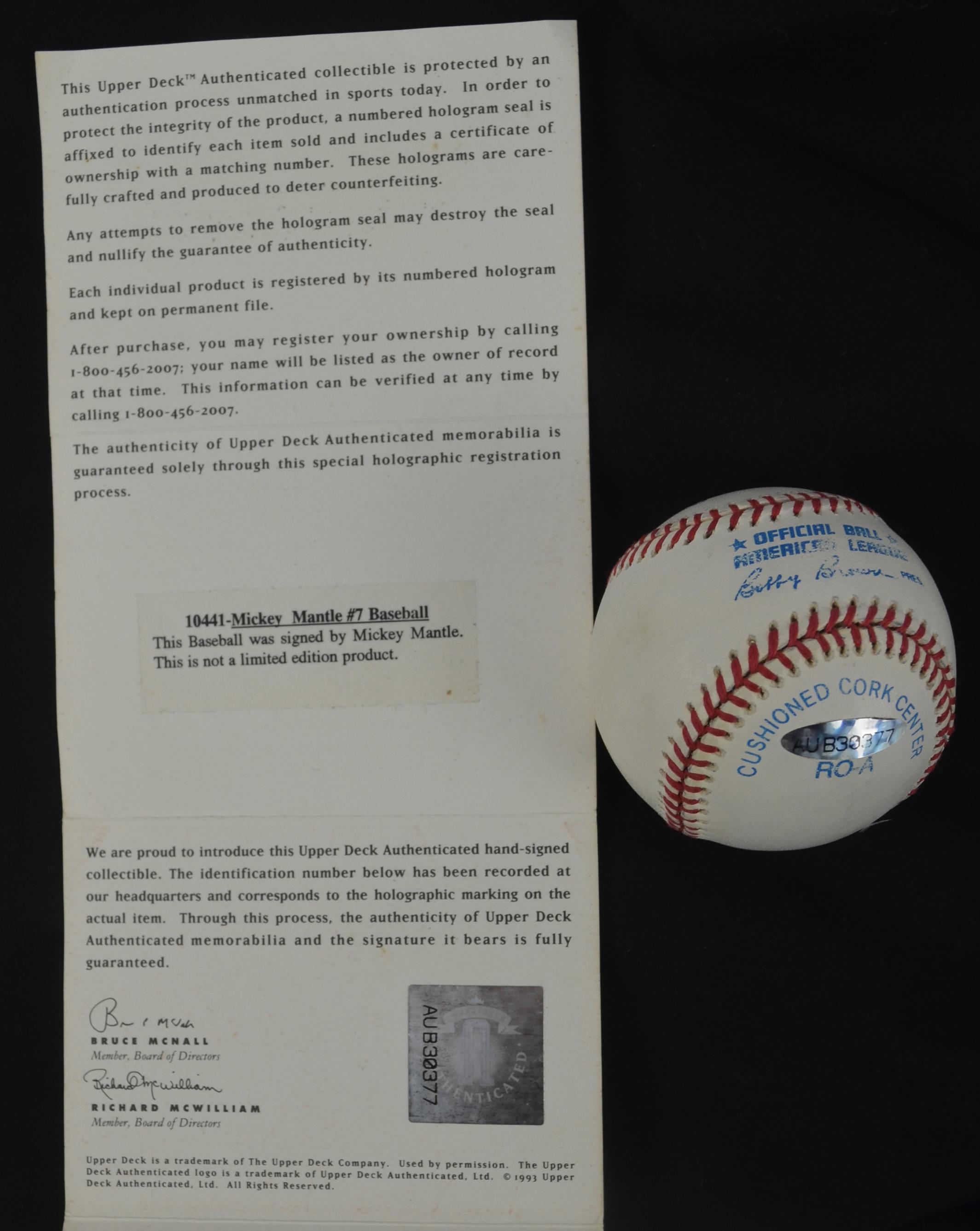 8e8e9f373 Lot Detail - Mickey Mantle Autographed & Inscribed Baseball UDA