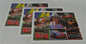 Jeff Gordon Richard Petty & Dale Earnhardt Lot of 3 Tim Cortes Fine Art Lithographs