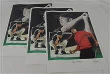 Tiger Woods Lot of 3 Tim Cortes Fine Art Lithographs