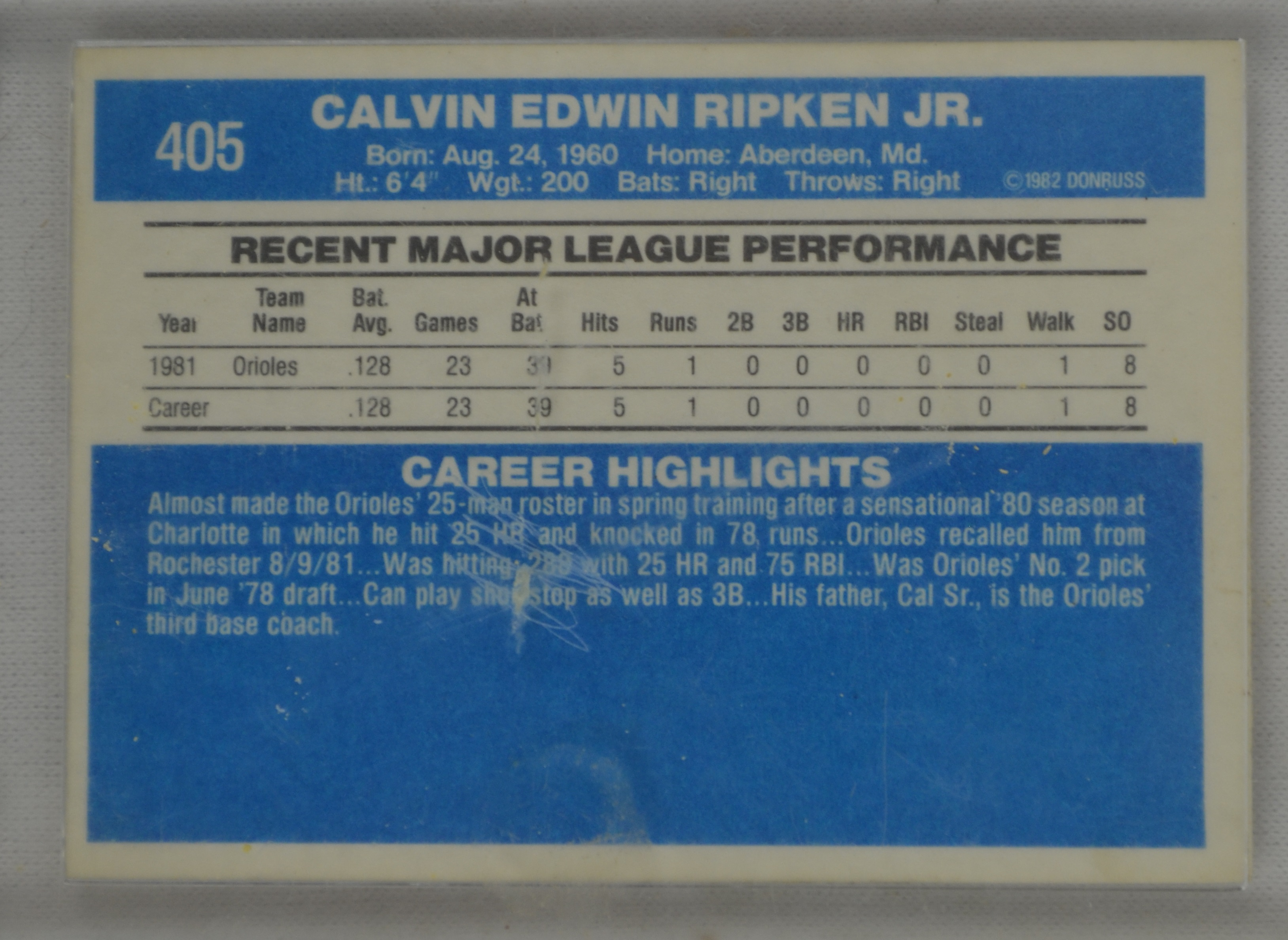 Lot Detail Cal Ripken 1982 Donruss 405 Rookie Card