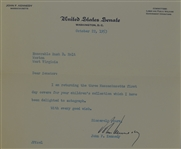 John Kennedy Signed Letter Dated October 22nd 1953 w/Full JSA LOA