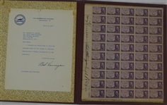 Harry Truman & Robert E. Hannegan Signed 1947 Collectible Stamp Sheet