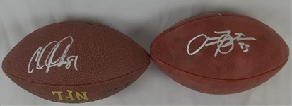 Calvin Johnson & Arian Foster Lot of 2 Autographed Footballs
