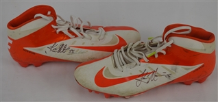 Koa Misi Dolphins dual signed G.U. Cleats w/photo wearing