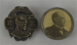 Vintage 1892 Grover Cleveland & 1896 William McKinley Presidential Campaign Pins