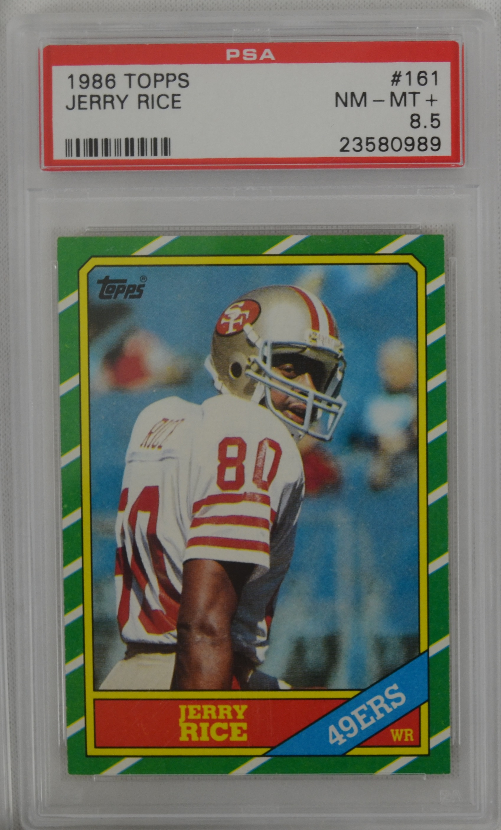 Lot Detail 1986 Topps Football Card Set Wjerry Rice Psa 85 Rookie