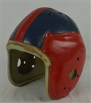 Vintage c. 1930s-1940s Red & Blue Leather Football Helmet w/Heavy Use