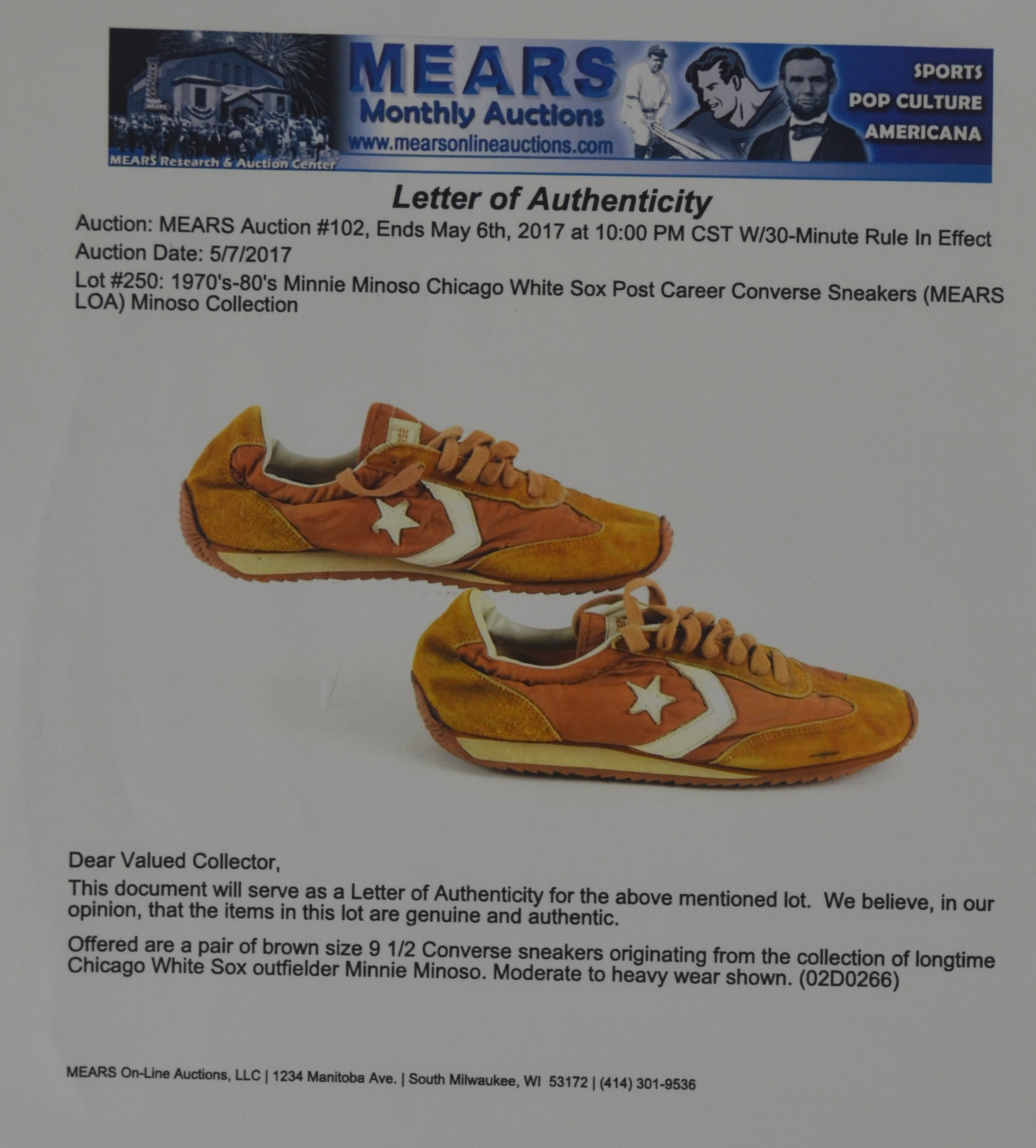 Minnie Minoso Chicago White Sox Shoes MEARS