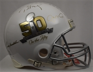 Tom Brady Joe Montana & Terry Bradshaw Autographed Limited Edition 50th Anniversary Helmet