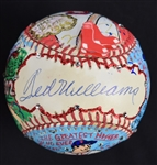 Ted Williams One-Of-A-Kind Charles Fazzino Hand Painted Autographed Baseball UDA