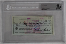 Vince Lombardi Signed 1968 Personal Check #240 BGS Authentic