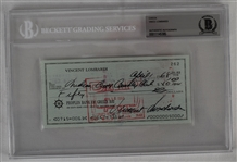 Vince Lombardi Signed 1968 Personal Check #262 BGS Authentic
