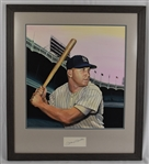Mickey Mantle Original James Fiorentino Watercolor Painting w/Mantle Autograph