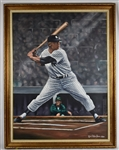 Mickey Mantle Autographed & Inscribed 1985 Original Oil Painting by Robert Stephen Simon