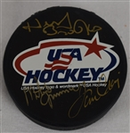 Herb Brooks Mike Eruzione & Jim Craig 1980 USA Gold Medal Signed Hockey Puck