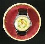 Babe Ruth Vintage 1948 Wrist Watch in Original Plastic Baseball Case In Working Condition