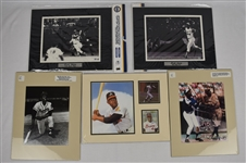 Hank Aaron Collection of 5 Matted Photos