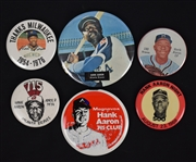 Hank Aaron Collection of 6 Pinback Buttons