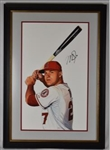 Mike Trout Original James Fiorentino Watercolor Painting *Signed by Trout*