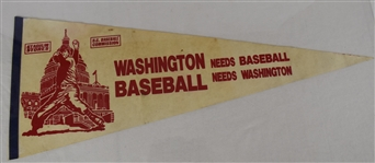 Vintage Washington Needs Baseball Pennant