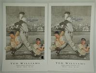 Ted Williams Lot of 2 Autographed 1942 Triple Crown Lithographs