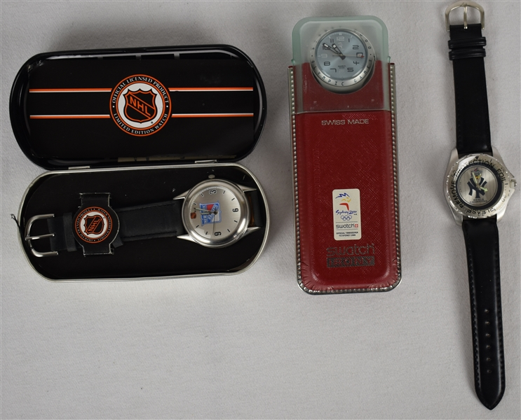 Lot of 3 Collector Watches w/Yankees & Rangers