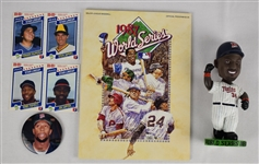 Kirby Puckett Collection w/Bobble Head Button 1987 Card & World Series Program