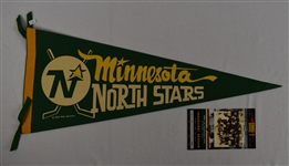 Minnesota North Stars Pennant & Minnesota Wild Inagural Game Ticket