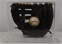 Kirby Puckett c. 1985-89 Minnesota Twins Game Used Rookie Era Baseball Glove in Display Case w/Puckett Family Provenance