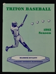 Kirby Puckett 1982 Triton Baseball College Program w/Puckett Family Provenance