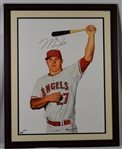 Mike Trout James Fiorentino Autographed Limited Edition Framed Giclee