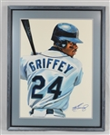 Ken Griffey Jr. Original James Fiorentino Watercolor Painting *Signed by Griffey Jr.*