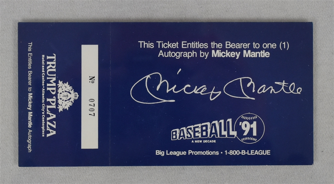 Vintage 1991 Mickey Mantle Trump Plaza Ticket For Autograph