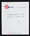 Paul Hoffman 1963 Baltimore Bullets Signed Letter & Expense Report to Sid Hartman