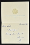 John Wooden 1973 UCLA Signed Letter to Sid Hartman