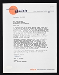 Paul Hoffman 1963 Baltimore Bullets Signed Full Letter to Sid Hartman