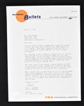 Paul Hoffman 1964 Baltimore Bullets Signed Letter to Sid Hartman