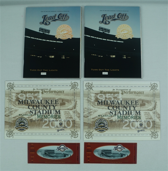 Milwaukee County Stadium 2000 Final Game Limited Edition Programs & Tickets